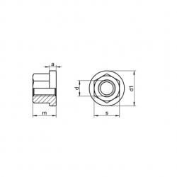 RVS Zeskantmoeren 1,5xdiameter hoog met flens DIN 6331