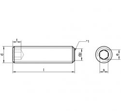 Stelschroeven met binnenzeskant en afschuining DIN 913
