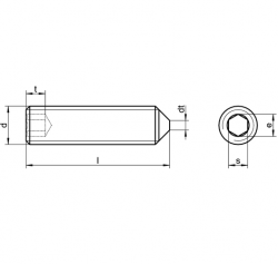 RVS Stelschroeven met binnenzeskant en punt DIN 914
