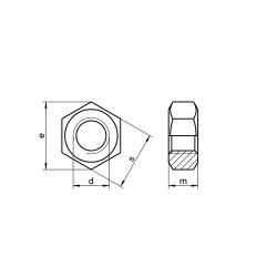 RVS Zeskantmoeren met Fijndraad DIN 934 / ISO 8673