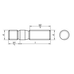 RVS Tapeinden 1,5 x Ø DIN 939