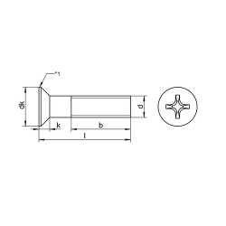 RVS Platverzonken bouten kruiskop DIN 965