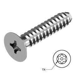 RVS Platverzonken Plaatschroeven Torx met pin Art. 8586