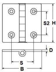 RVS Scharnieren - gegoten, E706
